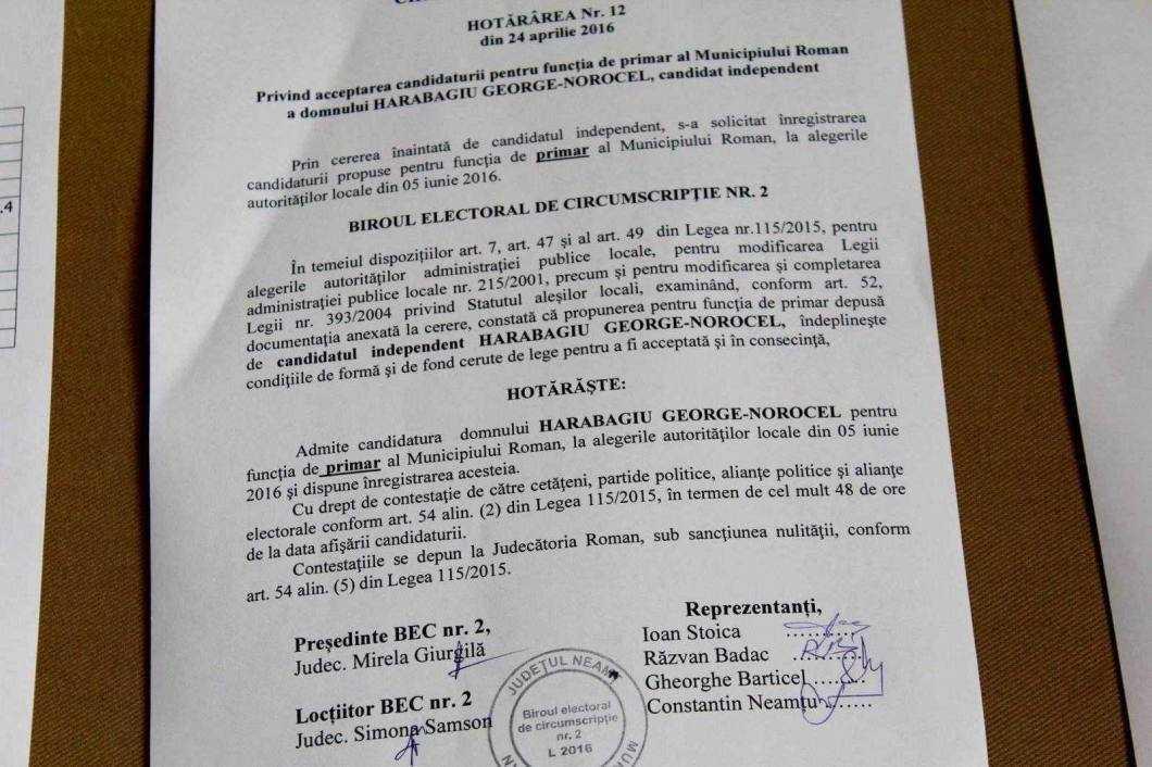 Hotărârea prin care Biroul Electoral acceptă candidatura lui Harabagiu George-Norocel