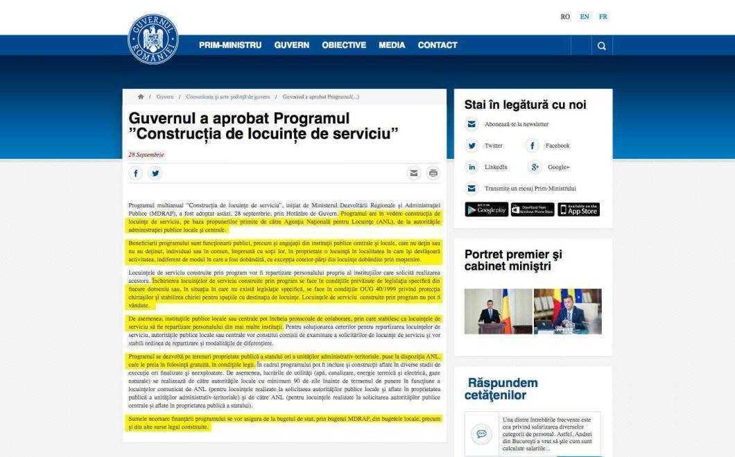 screencapture gov ro ro guvernul sedinte guvern guvernul a aprobat programul constructia de locuinte de serviciu 1489086790508