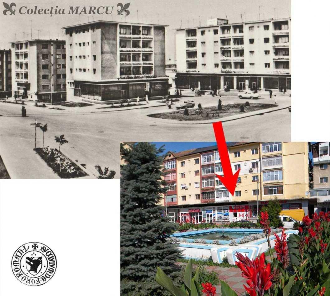 Rondul din fața Spitalului Vechi unde va fi amplasată arteziana (carte poștală ilustrată din 1970)