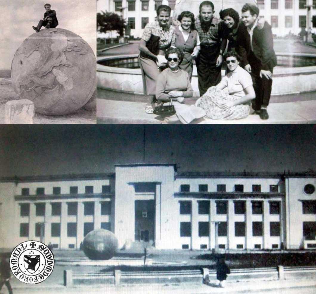Fosta fântână arteziană din fața Sfatului Popular din Roman din anii '50, globul a fost aruncat în 1963 pe islazul Moldovei