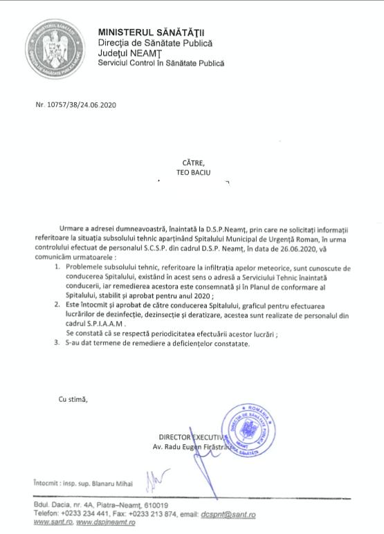 DSP Neamț a coborât în subsolul tehnic al Spitalului Roman